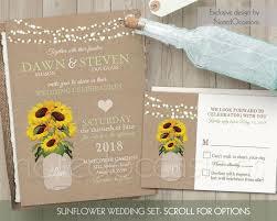 Sunflower Wedding Invitation Set Rustic Country String Lights DIY Digital Template