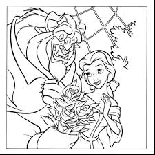 Beauty And The Beast Coloring Pages Disney Great Castle For Adults Rose Large Size