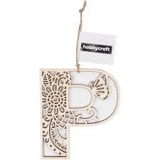Wooden Filigree Hanging Letter P 13Cm Hobbycraft