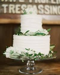 Olive Branches On Simple White Cake Magical Redwood Grove Wedding
