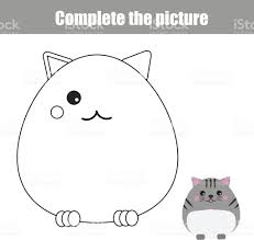 Complete Picture Children Educational Game Coloring Page Kids Activity Sheet With Cute Cat Character