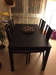 ikea tisch schwarzbraun mit passenden stühlen