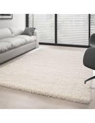 hochflor langflor wohnzimmer shaggy teppich florhöhe 3cm unifarbe creme
