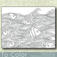 Printable Waves And Fish Coloring Page For Adults PDF JPG Instant Download