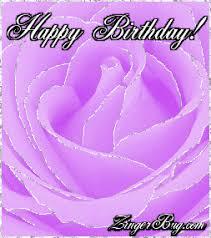 Purple Glitter Happy Birthday Rose