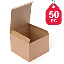 MESHAR Kraft Boxes 50 Pack 5x 5 X 35 Inches Brown Paper Gift With Lids For Gifts Crafting Cupcake