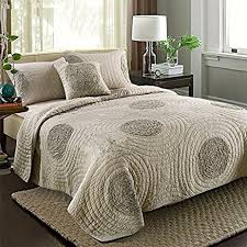 Bed Quilts Queen by Amazon Com Brandream Queen Size Taupe Bed Quilt Set Luxury