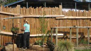 Exciting Wooden Fence At Large Backyard Decorated With Unique ... Backyard Ideas Deck And Patio Designs The Wooden Fencing Best 20 Cheap Fence Creative With A Hill On Budget Privacy Small Beautiful Garden Ideas Short Lawn Garden Styles For Wood Original Grand Article Then Privacy Fence Large And Beautiful Photos Photo Backyards Trendy To Select