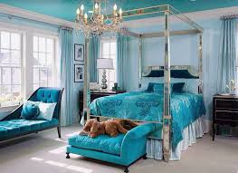 Beautiful Teal Color Bedroom With Chaise Lounge Bed Seat And Silver Mirrored Four Post