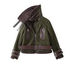 R 28087 Quentes Mulheres Jaqueta De Aviador Militar Exército Verde Moda Inverno Mulher Casaco De Cordeiro Reunindo Gola Caixilhos Jacket Casaco