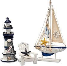 flanacom badezimmer deko 3er set maritime badezimmer deko leuchtturm segel schiff und strand stuhl aus holz badaccessoires schöne deko für