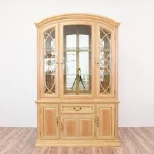 light wood china cabinet display loveseat vintage