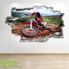 sticker mural moto look 3d garçons enfants chambre sport