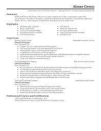 Sample Resume For Diesel Mechanic Skills Download Example