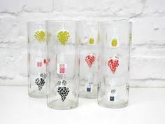 Vintage Drinking Glass Water Glasses Wine Themed Mid Century Bar Ware
