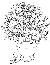 Coloring Adult Flowers Bouquet From The Gallery And Vegetation
