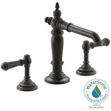 Brushed Bronze Tub Faucet by Kohler Artifacts 8 In Widespread 2 Handle Column Design Bathroom