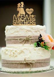 Silhouette Personalized Wedding Cake Topper Mr And Mrs With Heart Decor Disney Rustic