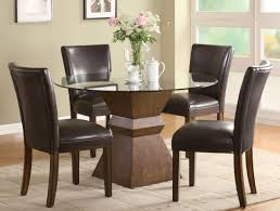 The Super Circle Glass Dining Table And Chairs Image Small Leather For Spaces