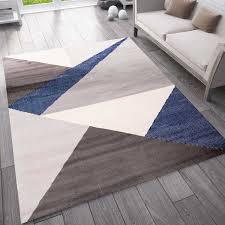 teppich wohnzimmer schlafzimmer flur teppich geometrisches muster blau vimoda homestyle