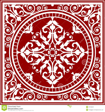 Red And White Asian Rug Vector Stock Illustration