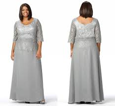 plus size evening dresses scoop neck 3 4 long sleeves silver lace