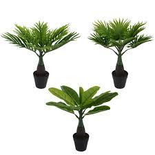 3x künstliche dekopflanze im set palme kunstpflanzen im topf kunstblumen fensterdeko künstliche pflanze
