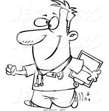 Vector Of A Happy Cartoon Male Nurse Carrying Clipboard