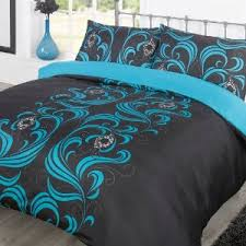 Amazon Uk King Size Headboards by Teal Comforter King Duvet Cover Bedding Set Ava Black Teal