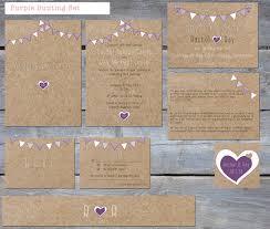 Printable Rustic Purple Bunting Wedding Stationery Set By PeonyandLaceUK On Etsy