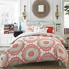 Anthology™ Bungalow Reversible forter Set in Coral Bed Bath