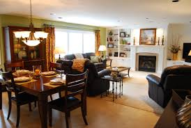 Living Room With Fireplace by Kitchen Appealing Decoration Family Room Design Ideas With