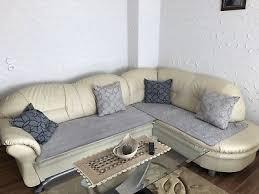 sitzecke mit schlaffunktion und sessel aus luxus kunstleder
