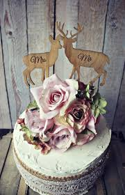 Deer Bride Groom Wedding Cake Topper Lover Hunting Hunter Camouflage Rustic On Sticks Mr And Mrs Custom Set Grooms Animal Buck