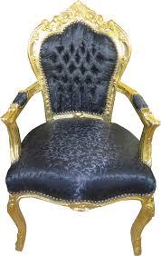 casa padrino barock esszimmer stuhl schwarz ton in ton muster gold mit armlehnen möbel