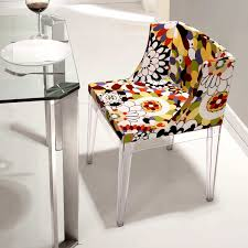 Pizzaro Dining Chair - Clear Legs, Print Fabric
