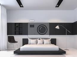 fototapete moderne schwarz weiß schlafzimmer innenraum minimal stil 3d rendering