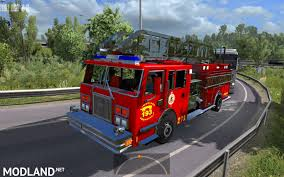 Fire Trucks In Traffic (with Siren And Flashing Lights) ETS2 1.27.XX ...
