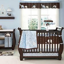 Amazon Blue Elephant 5 Piece Baby Crib Bedding Set with