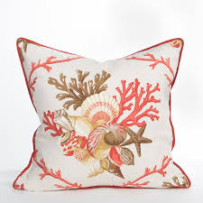 Coral Colored Decorative Accents by Shellwalk Beach Accent Pillow Coastal Home Pillows
