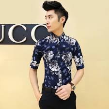 2015 New Slim Fit Floral Print Mens Flower Shirt Summer Dress Korean Men Fancy Night