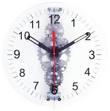 Maples 24 Inch Large Moving Gear Wall Clock Glass Lens