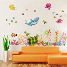 2015 New Sea World Childrens Room Wall Sticker Ocean Cartoon Decal Kids Living Decoration Home Decor 3090cm Decals Free