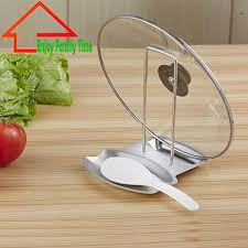 Durable Stainless Steel Pan Pot Rack Cover Lid Rack Stand Spoon