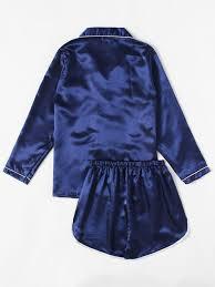 contrast piping satin pajama set shein sheinside