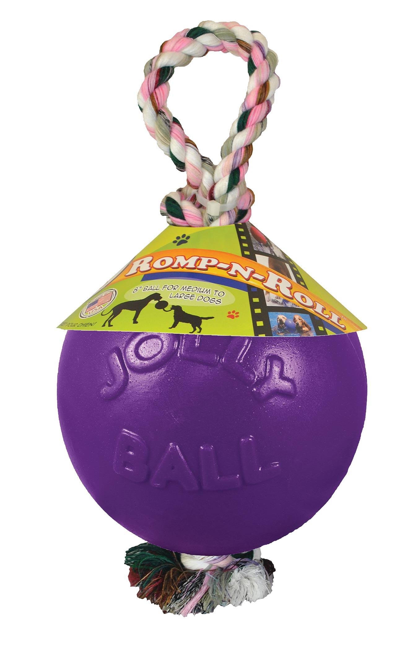 Jolly Pets Romp-n-roll Ball Dog Toy - Purple, 8''