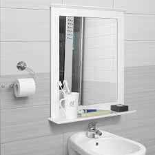 homfa 50x60cm wandspiegel badspiegel mit ablage hängespiegel spiegel für badezimmer wohnzimmer flur holz 50x12x60cm