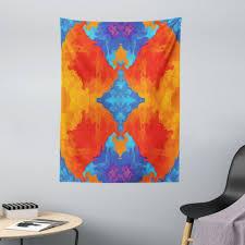 wandteppich aus weiches mikrofaser stoff für das wohn und schlafzimmer abakuhaus rechteckig trippy modernes blau orange kaufen otto
