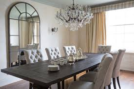 Crystal Dining Room Chandelier Round Trestle Reclaimed Wood Table With Gray Plaid Chairs Of