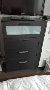 Ikea Hopen 4 Drawer Dresser by Hopen 4 Drawer Chest Black Brown Frosted Glass Oberharz